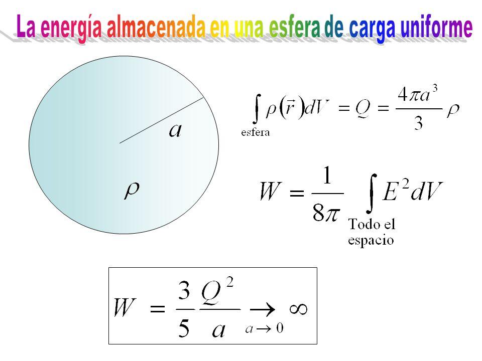 La energía almacenada en una esfera de carga uniforme