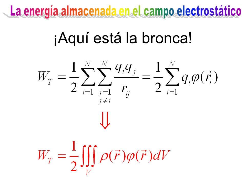 La energía almacenada en el campo electrostático