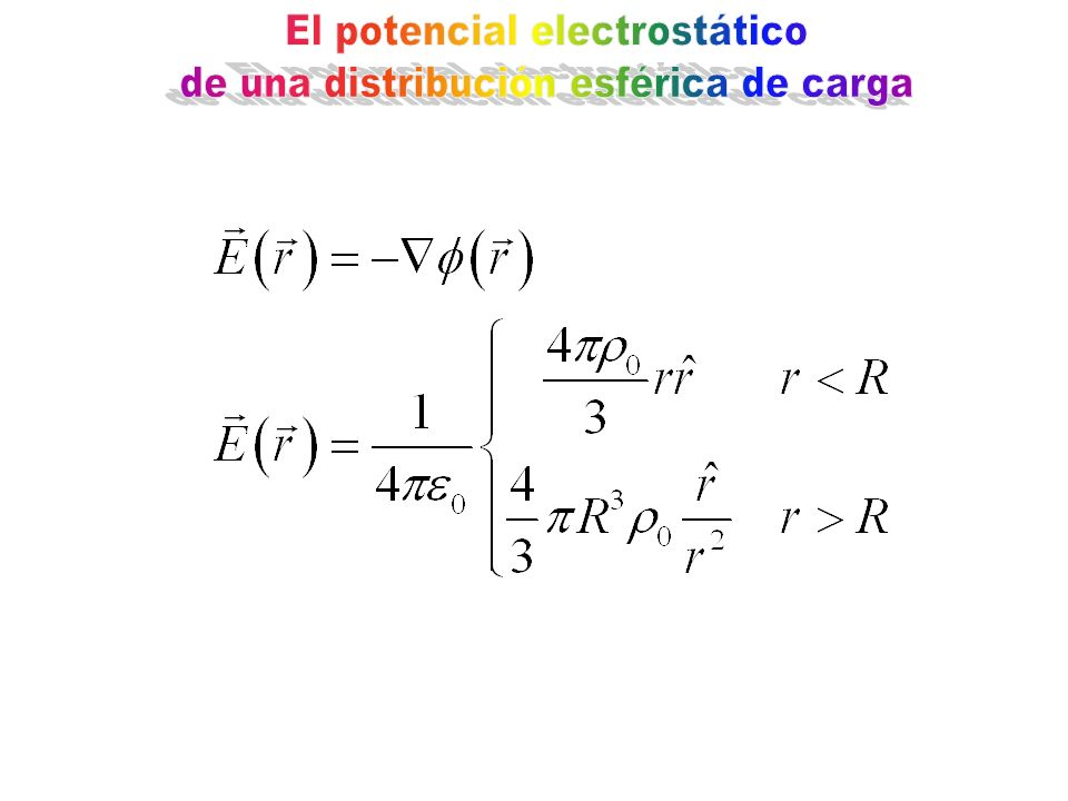 El potencial electrostático de una distribución esférica de carga