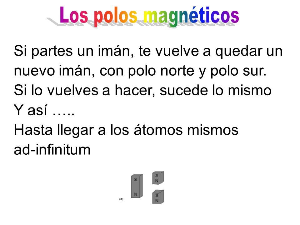 Los polos magnéticos Si partes un imán, te vuelve a quedar un nuevo imán, con polo norte y polo sur.
