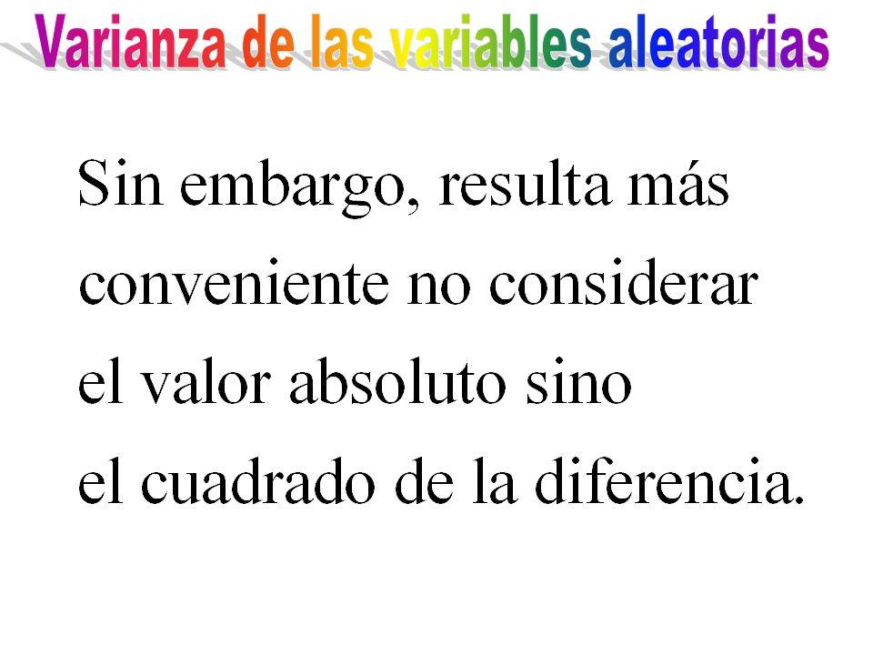 Varianza de las variables aleatorias