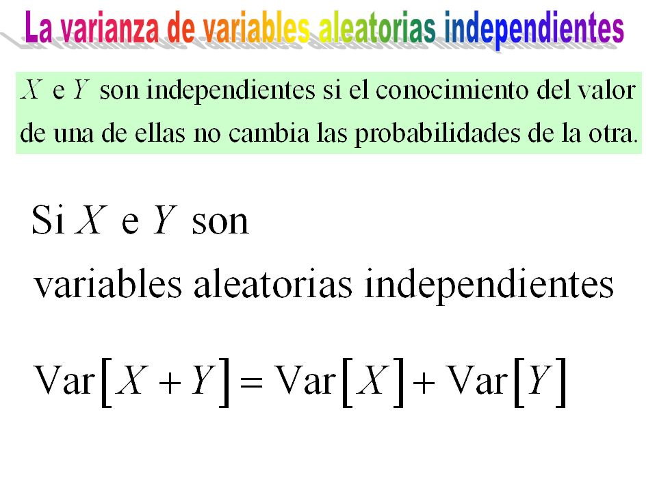 La varianza de variables aleatorias independientes