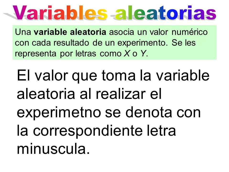 Variables aleatorias Una variable aleatoria asocia un valor numérico con cada resultado de un experimento. Se les representa por letras como X o Y.