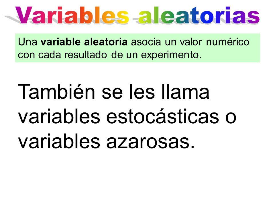 También se les llama variables estocásticas o variables azarosas.