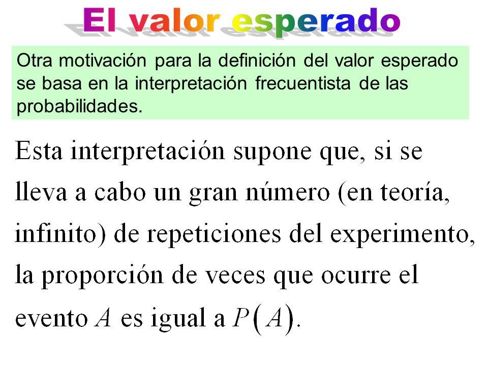 El valor esperado Otra motivación para la definición del valor esperado se basa en la interpretación frecuentista de las probabilidades.