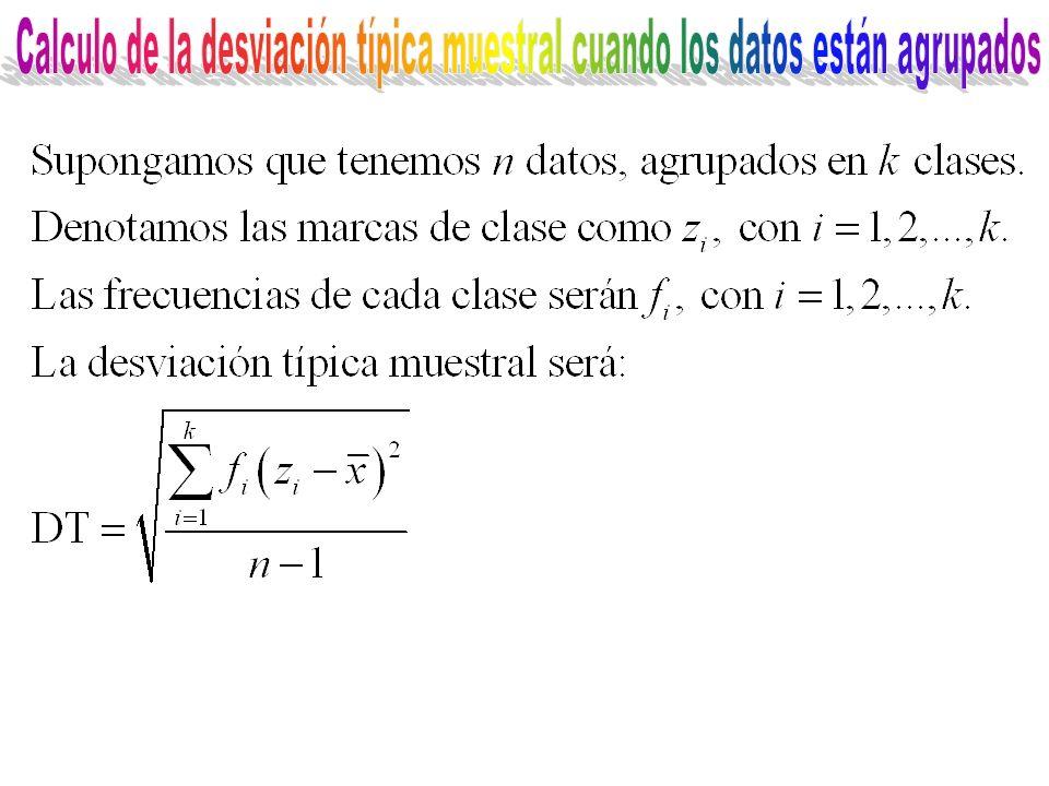 Calculo de la desviación típica muestral cuando los datos están agrupados