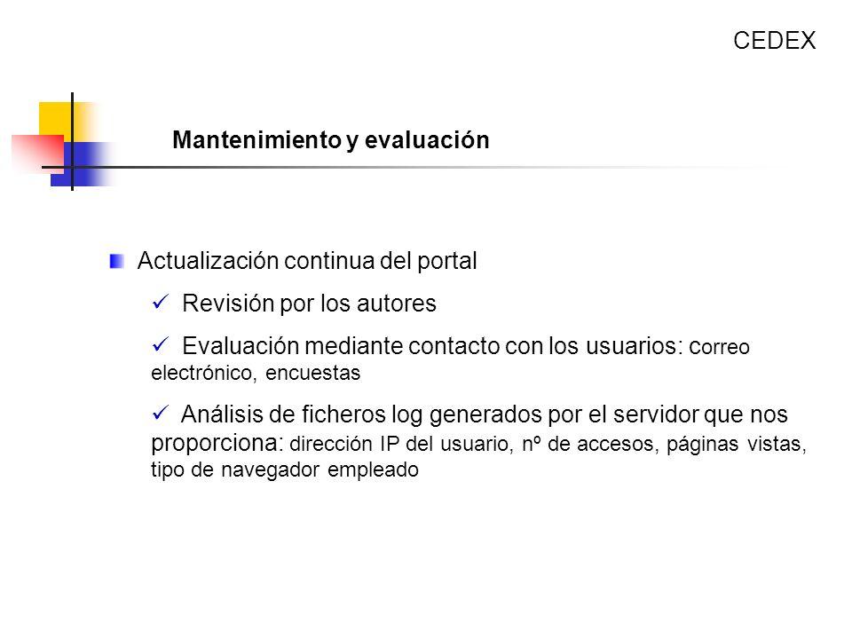 CEDEX Mantenimiento y evaluación. Actualización continua del portal. Revisión por los autores.