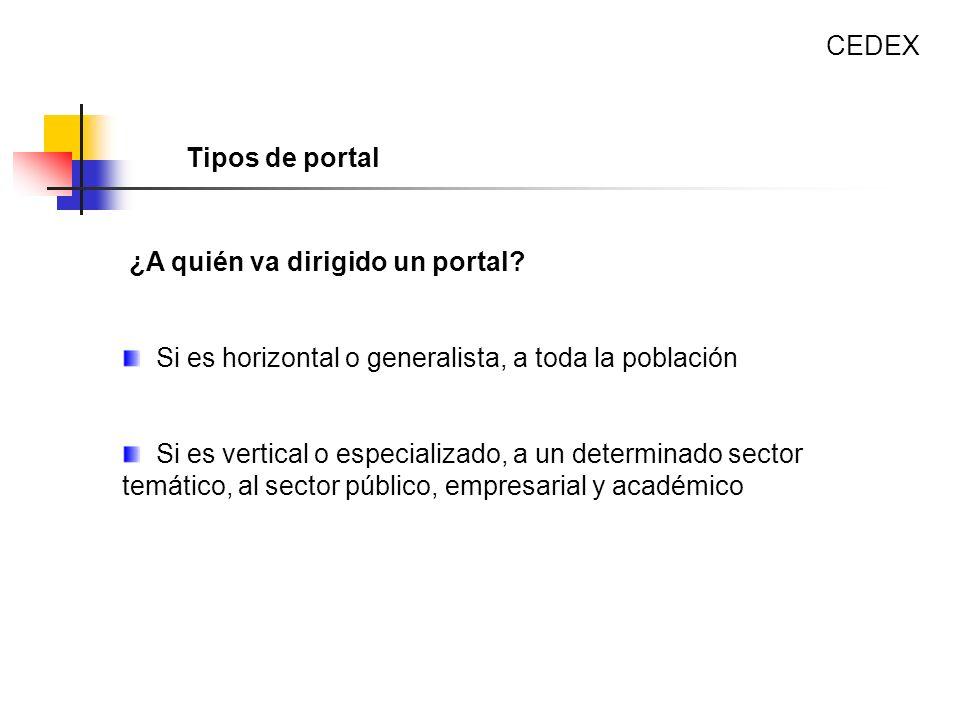 CEDEX Tipos de portal. ¿A quién va dirigido un portal Si es horizontal o generalista, a toda la población.