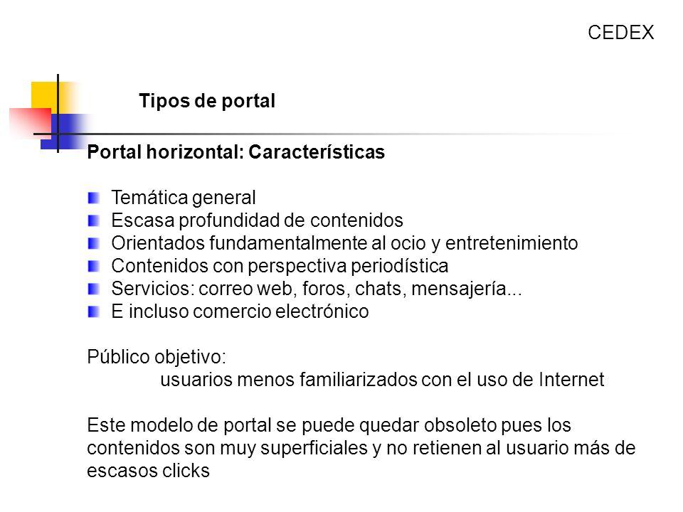 CEDEX Tipos de portal. Portal horizontal: Características. Temática general. Escasa profundidad de contenidos.