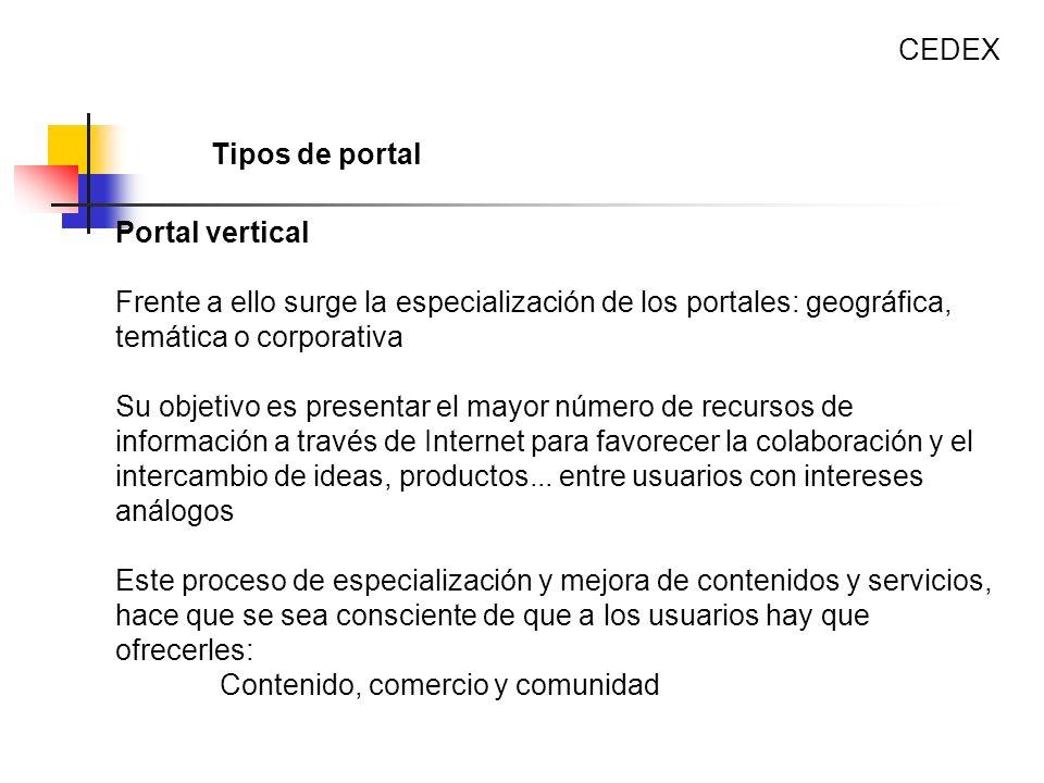 CEDEX Tipos de portal. Portal vertical. Frente a ello surge la especialización de los portales: geográfica, temática o corporativa.