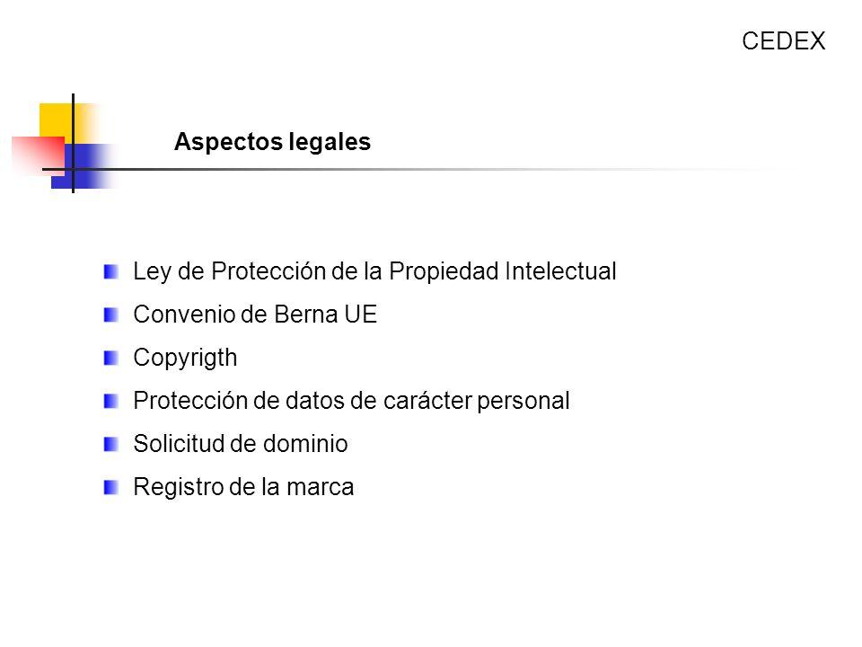 CEDEX Aspectos legales. Ley de Protección de la Propiedad Intelectual. Convenio de Berna UE. Copyrigth.