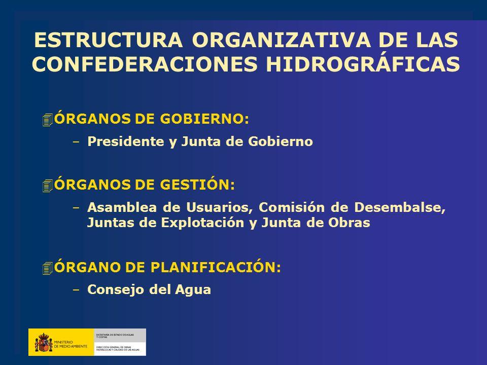 ESTRUCTURA ORGANIZATIVA DE LAS CONFEDERACIONES HIDROGRÁFICAS