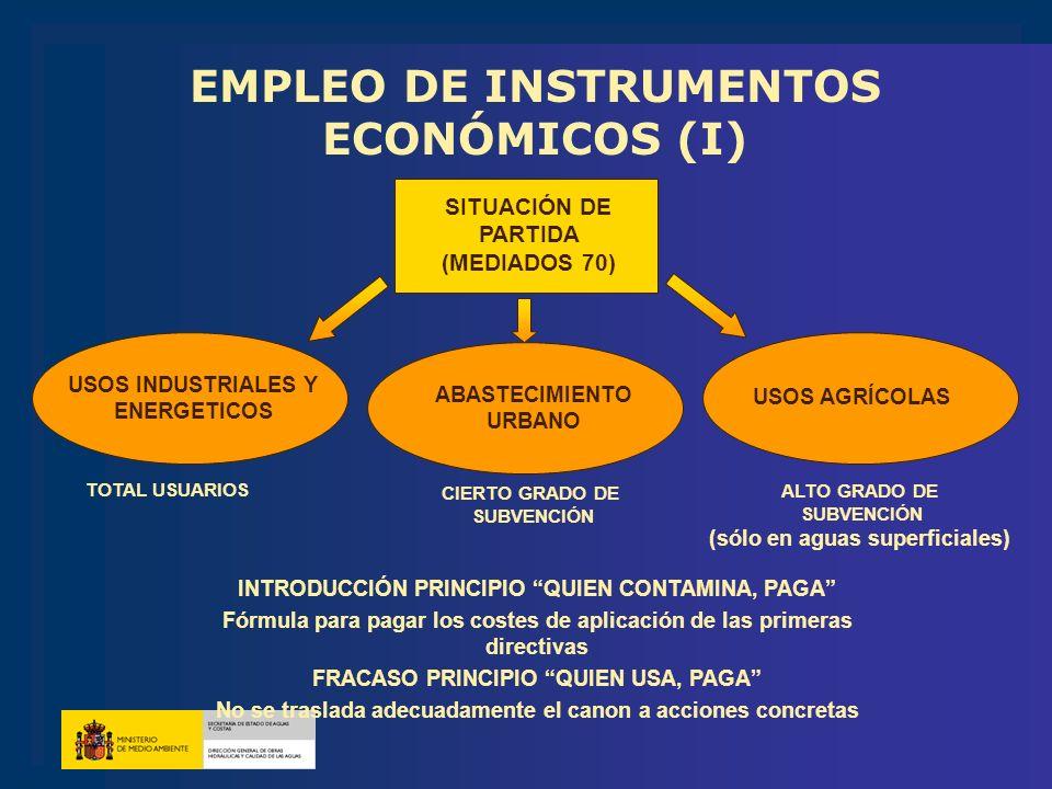 EMPLEO DE INSTRUMENTOS ECONÓMICOS (I)