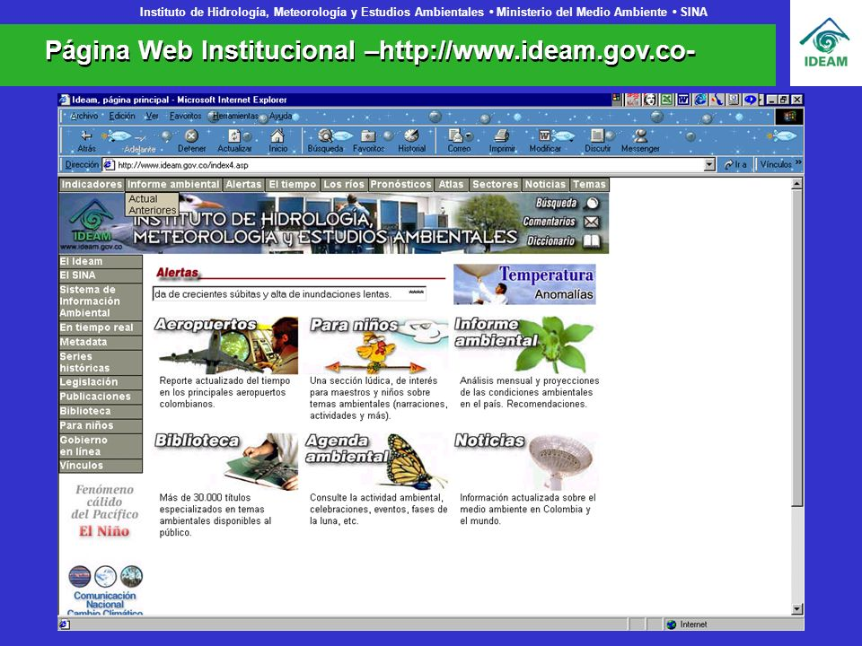 Página Web Institucional –http://www.ideam.gov.co-