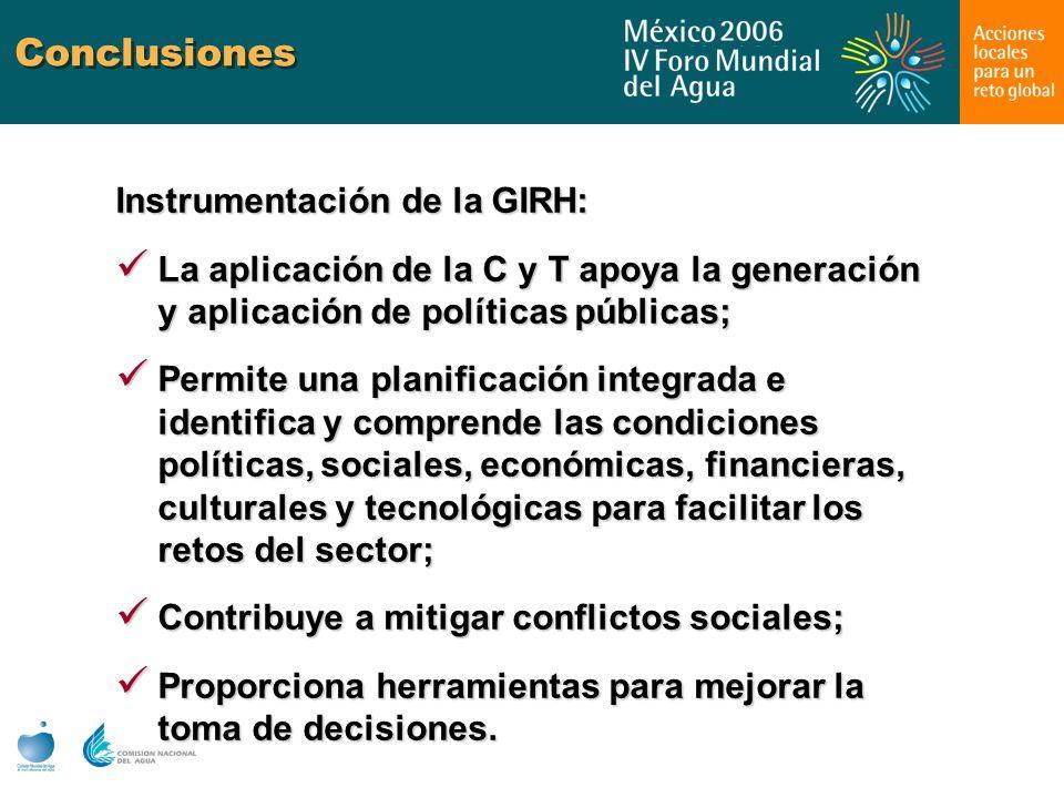 Conclusiones Instrumentación de la GIRH: