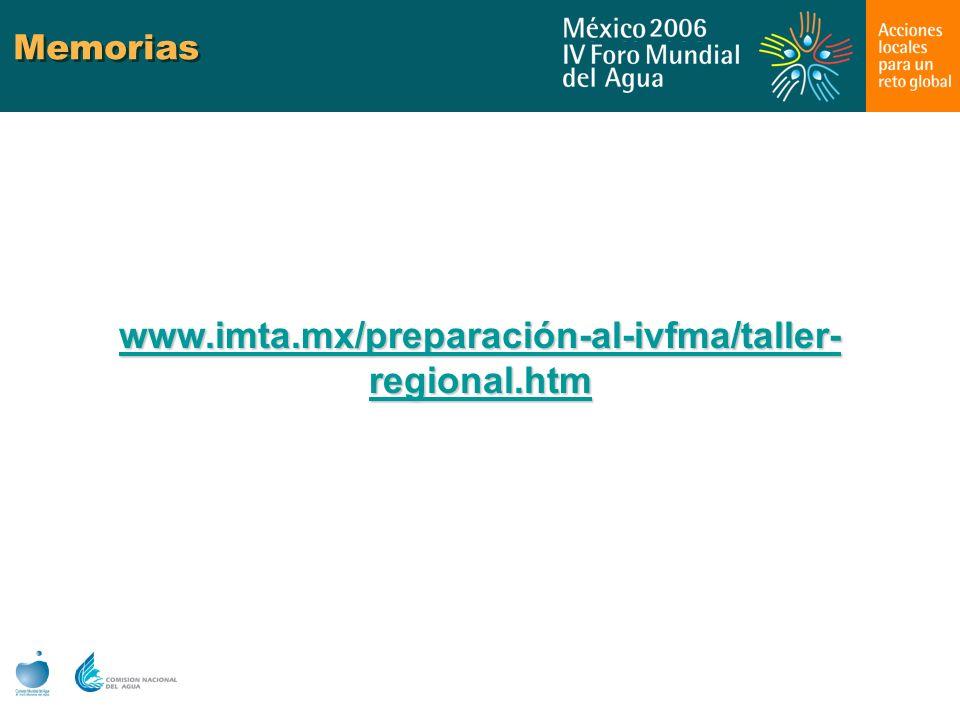 Memorias www.imta.mx/preparación-al-ivfma/taller-regional.htm