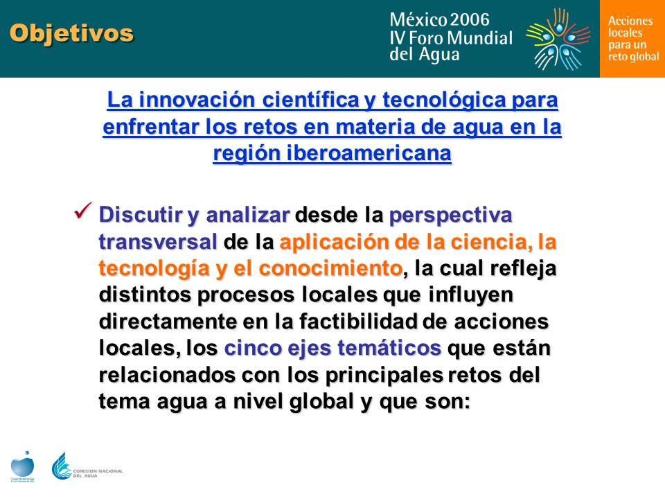 Objetivos La innovación científica y tecnológica para enfrentar los retos en materia de agua en la región iberoamericana.