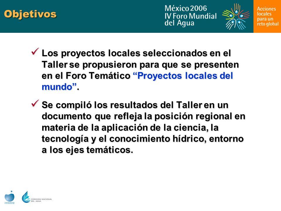 Objetivos Los proyectos locales seleccionados en el Taller se propusieron para que se presenten en el Foro Temático Proyectos locales del mundo .