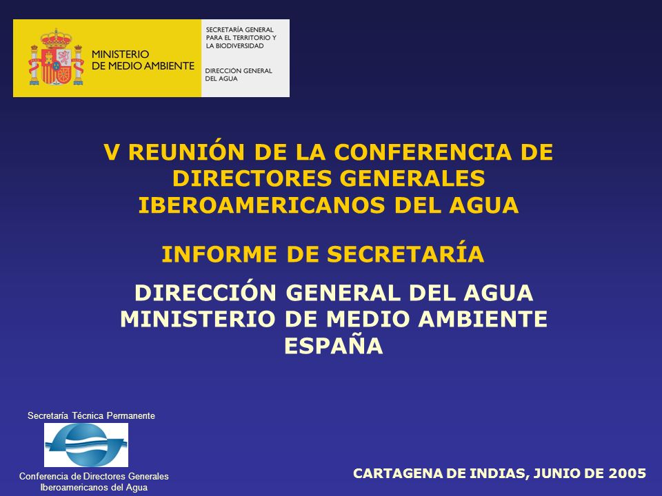 DIRECCIÓN GENERAL DEL AGUA MINISTERIO DE MEDIO AMBIENTE ESPAÑA