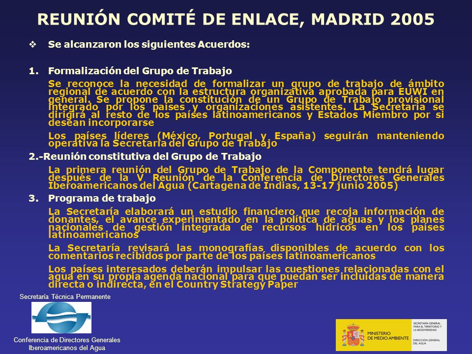 REUNIÓN COMITÉ DE ENLACE, MADRID 2005