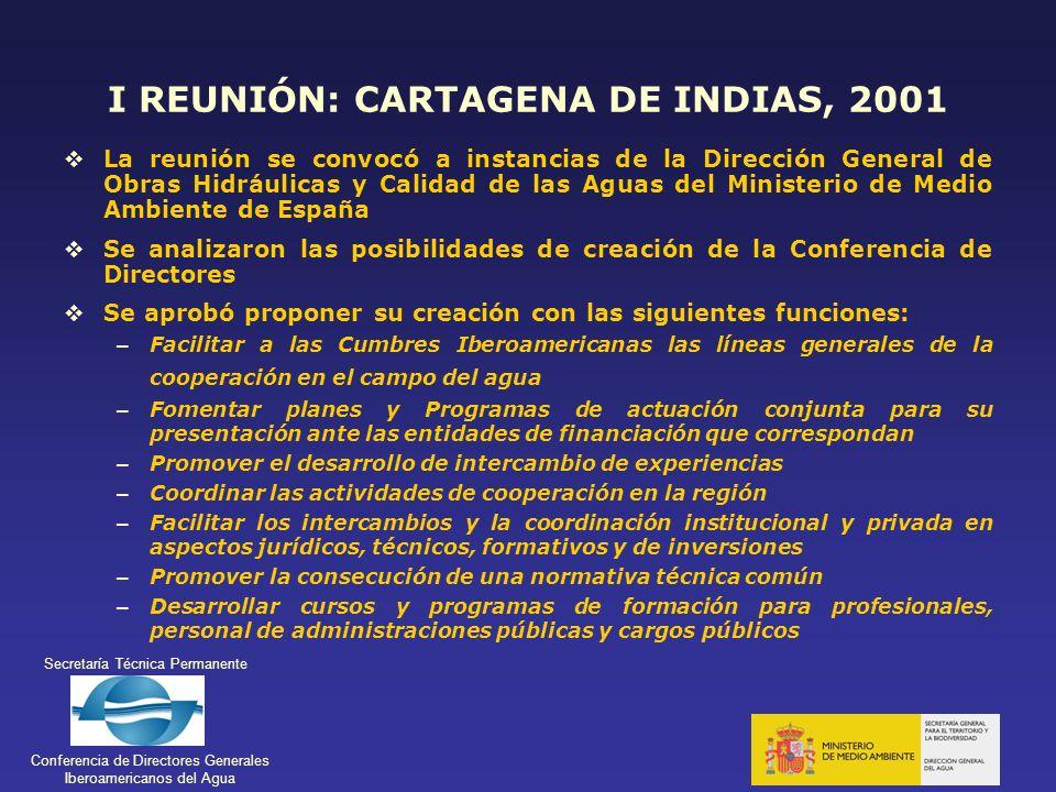 I REUNIÓN: CARTAGENA DE INDIAS, 2001