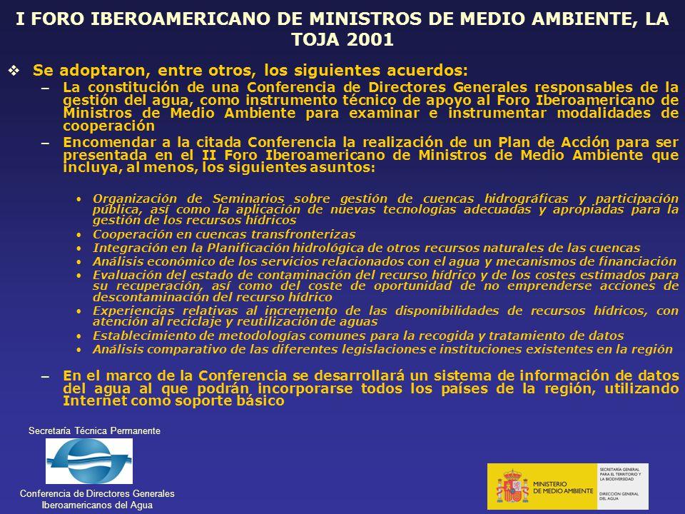 I FORO IBEROAMERICANO DE MINISTROS DE MEDIO AMBIENTE, LA TOJA 2001