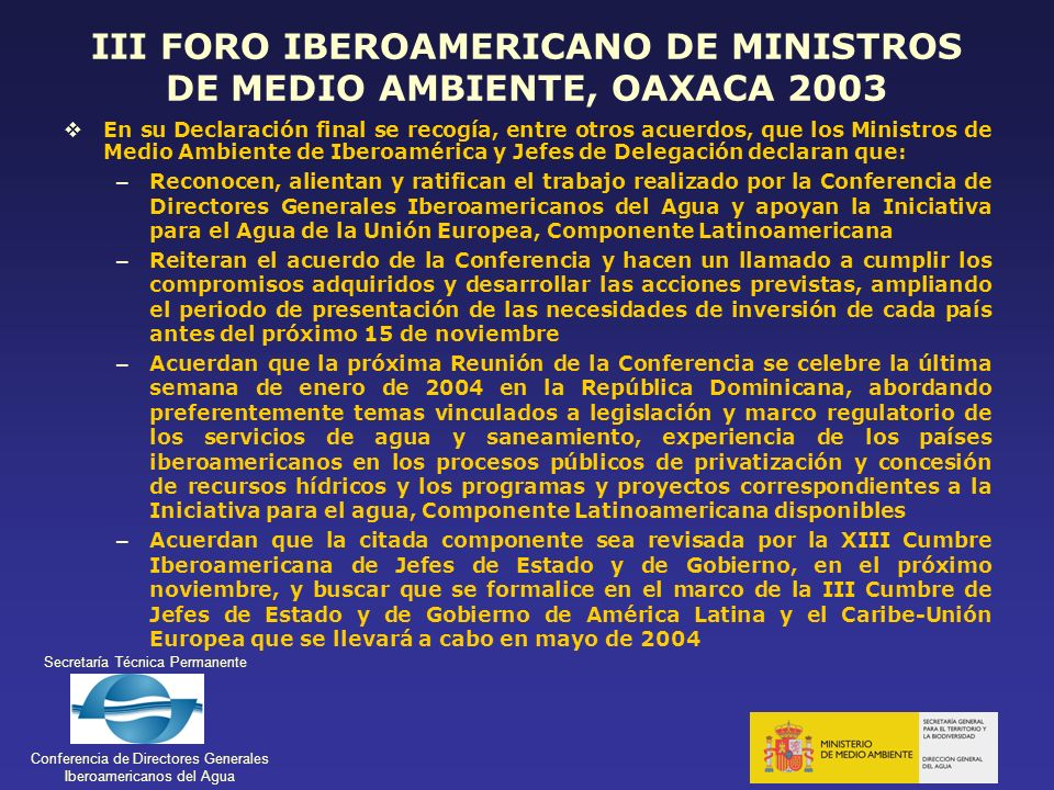 III FORO IBEROAMERICANO DE MINISTROS DE MEDIO AMBIENTE, OAXACA 2003