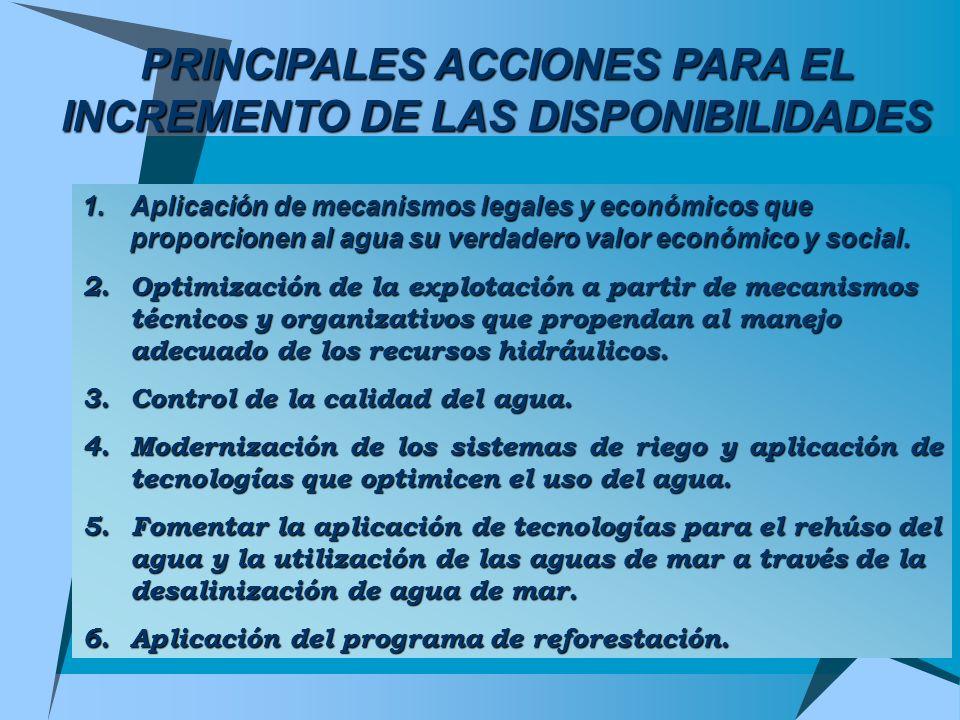 PRINCIPALES ACCIONES PARA EL INCREMENTO DE LAS DISPONIBILIDADES