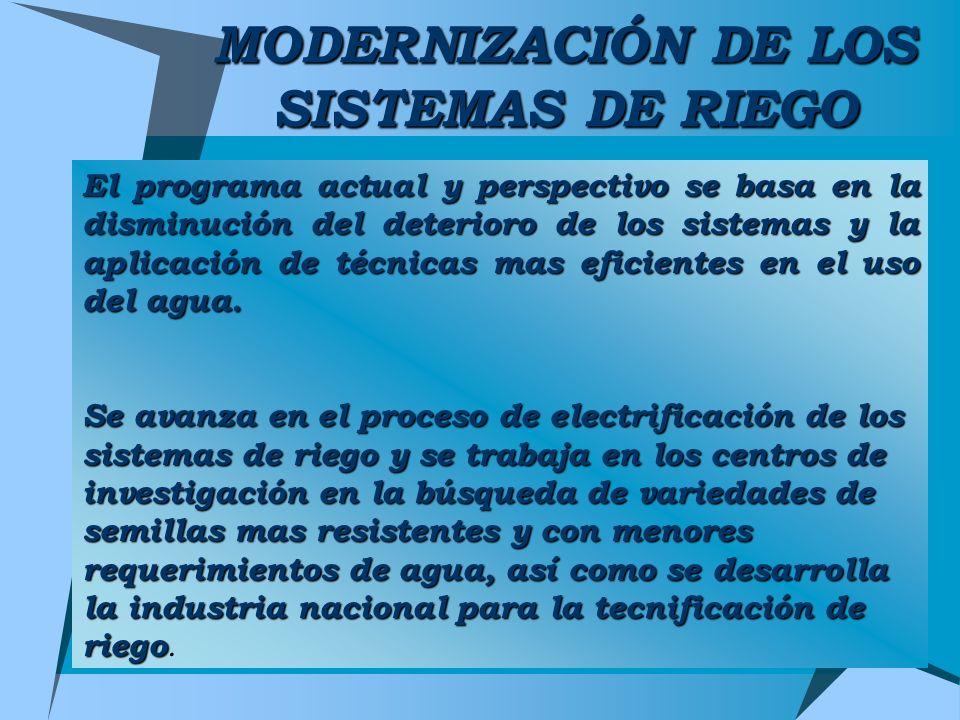 MODERNIZACIÓN DE LOS SISTEMAS DE RIEGO