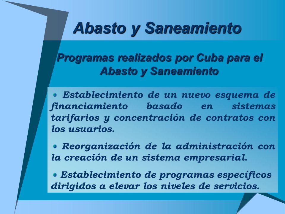 Programas realizados por Cuba para el Abasto y Saneamiento