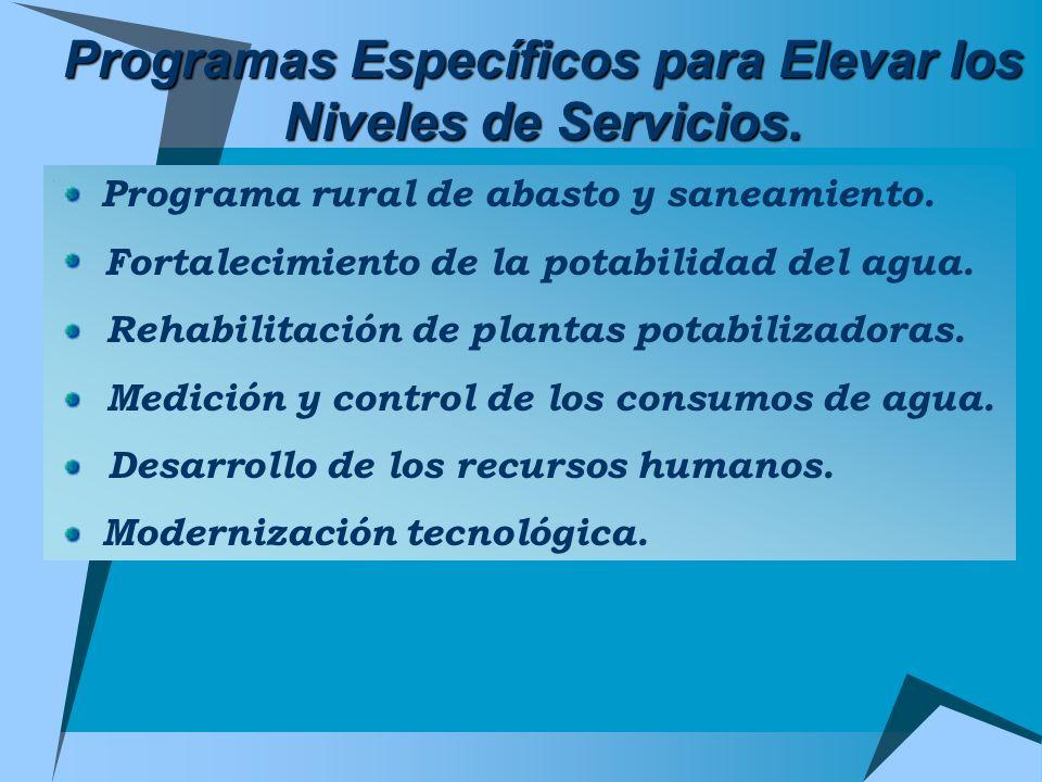 Programas Específicos para Elevar los Niveles de Servicios.