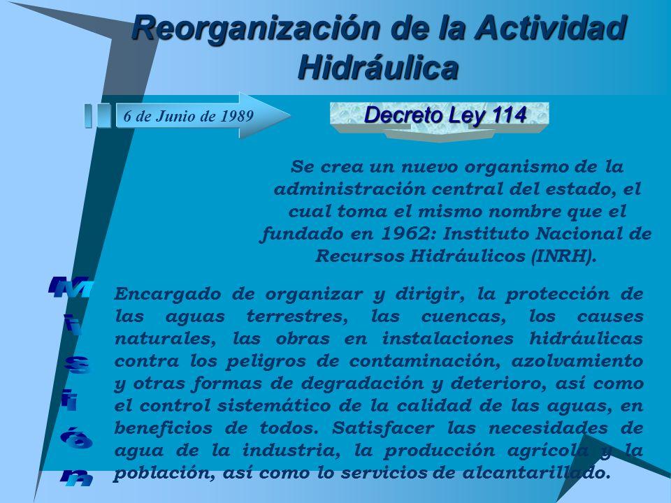 Reorganización de la Actividad Hidráulica