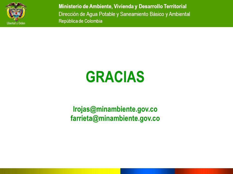 GRACIAS lrojas@minambiente.gov.co farrieta@minambiente.gov.co