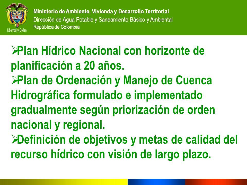 Plan Hídrico Nacional con horizonte de planificación a 20 años.