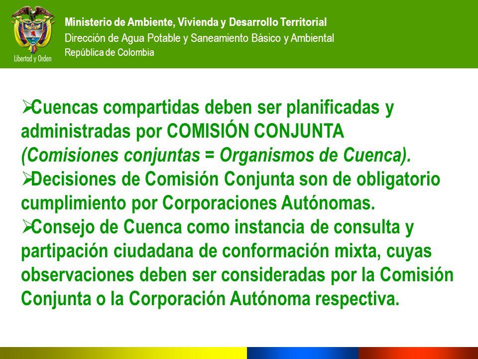 (Comisiones conjuntas = Organismos de Cuenca).