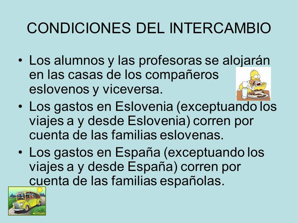 CONDICIONES DEL INTERCAMBIO
