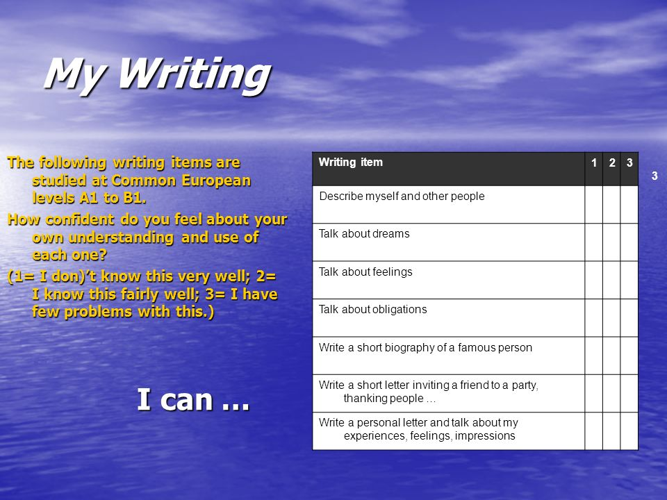 My Writing The following writing items are studied at Common European levels A1 to B1.