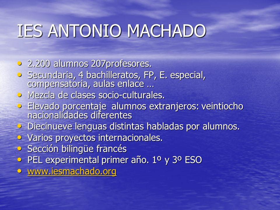 IES ANTONIO MACHADO 2.200 alumnos 207profesores.