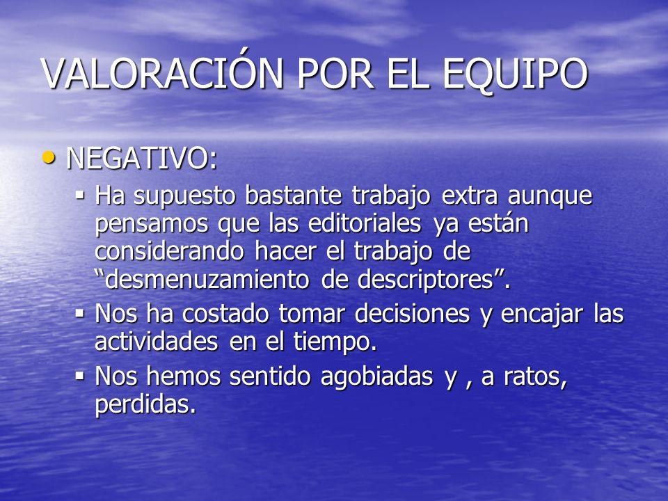 VALORACIÓN POR EL EQUIPO