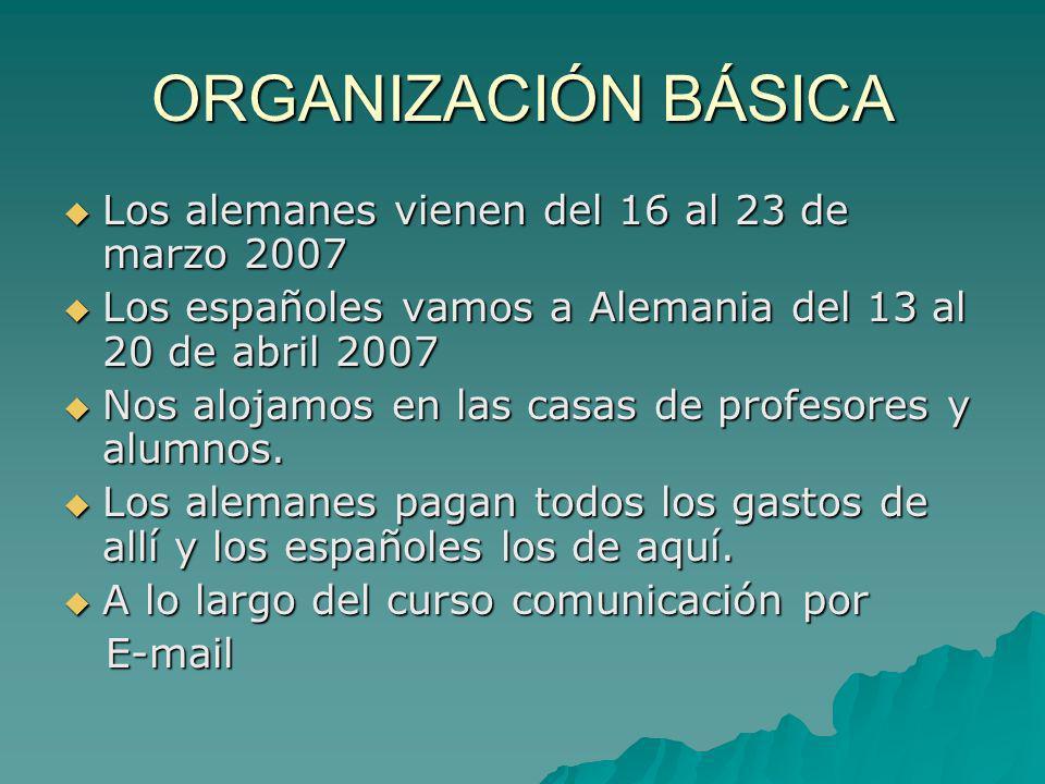 ORGANIZACIÓN BÁSICA Los alemanes vienen del 16 al 23 de marzo 2007