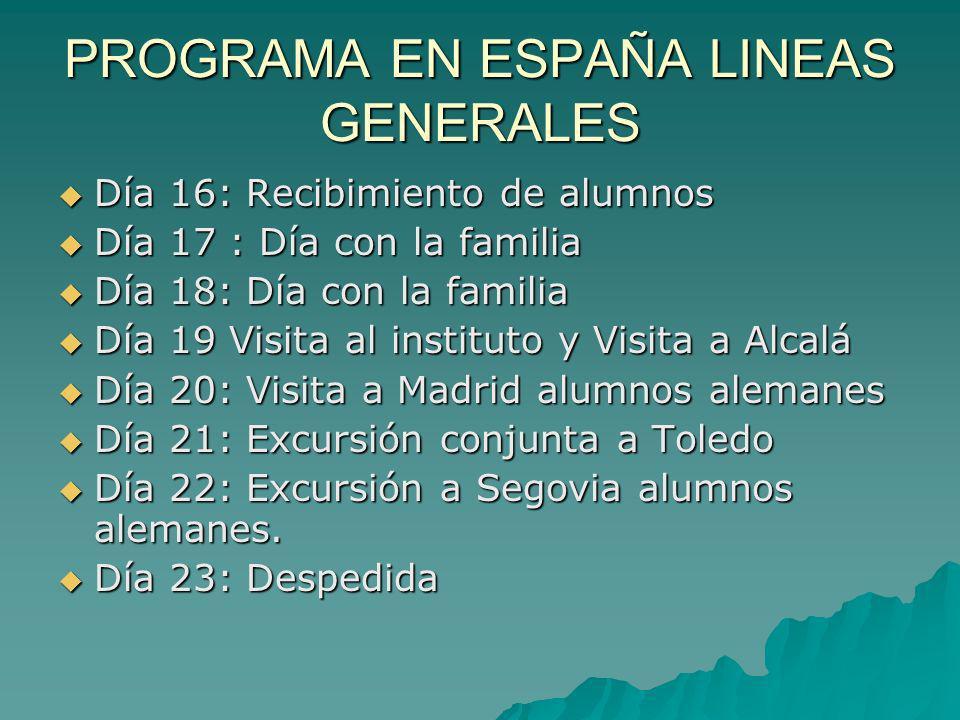 PROGRAMA EN ESPAÑA LINEAS GENERALES