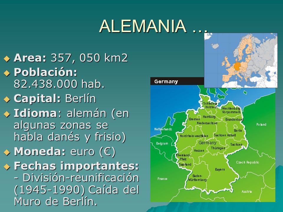 ALEMANIA … Area: 357, 050 km2 Población: 82.438.000 hab.