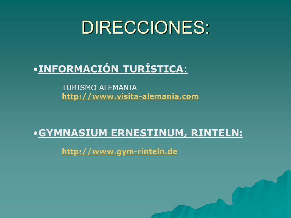 DIRECCIONES: INFORMACIÓN TURÍSTICA: TURISMO ALEMANIA