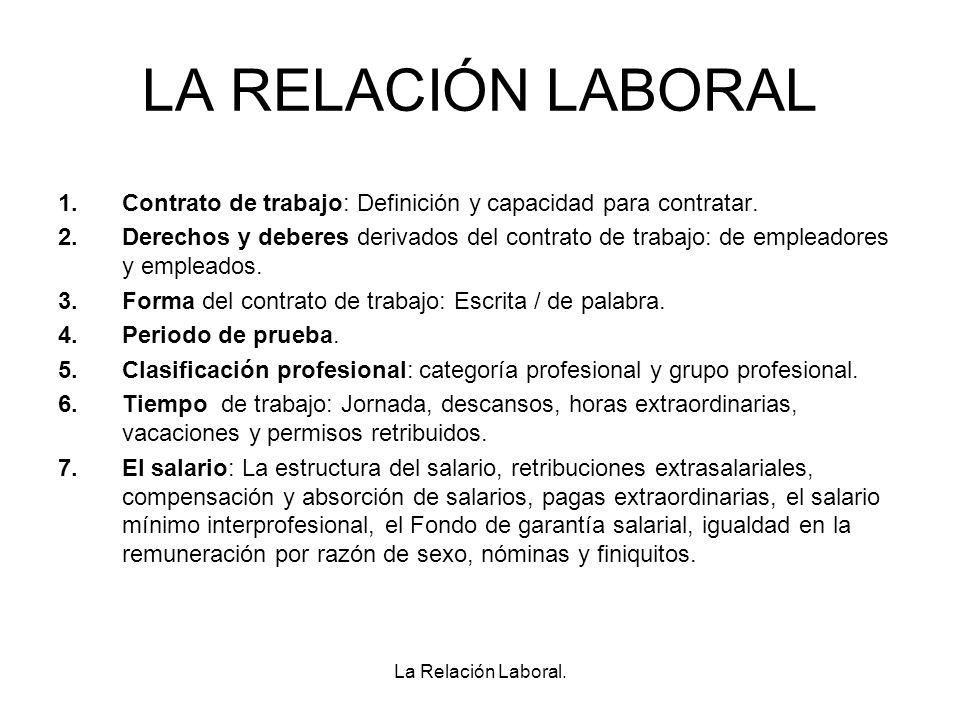 LA RELACIÓN LABORAL Contrato de trabajo: Definición y capacidad para contratar.