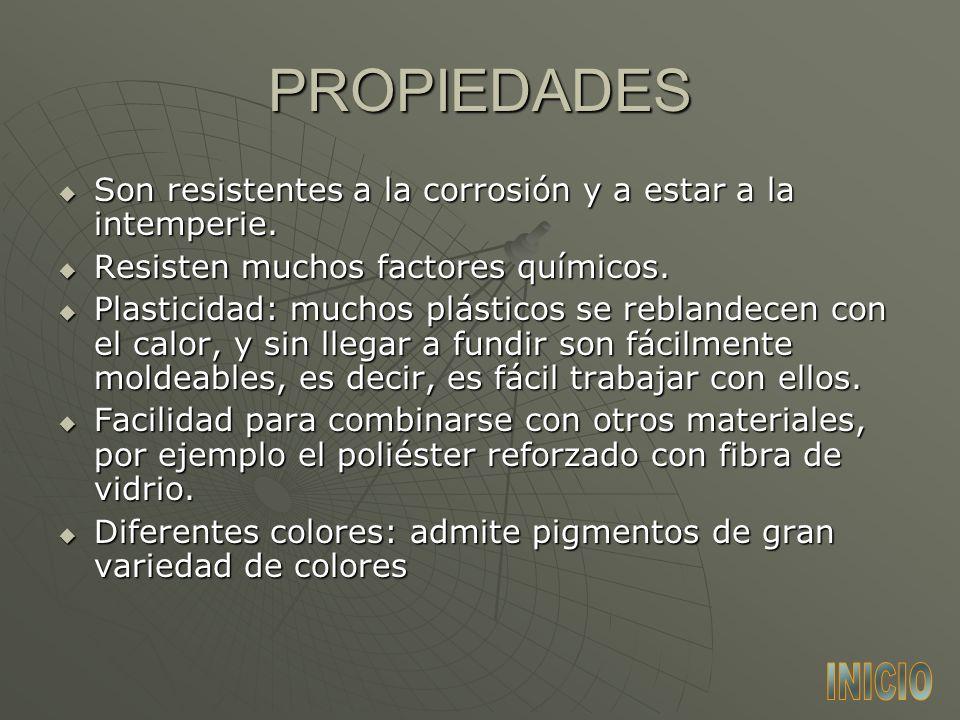 PROPIEDADES Son resistentes a la corrosión y a estar a la intemperie. Resisten muchos factores químicos.