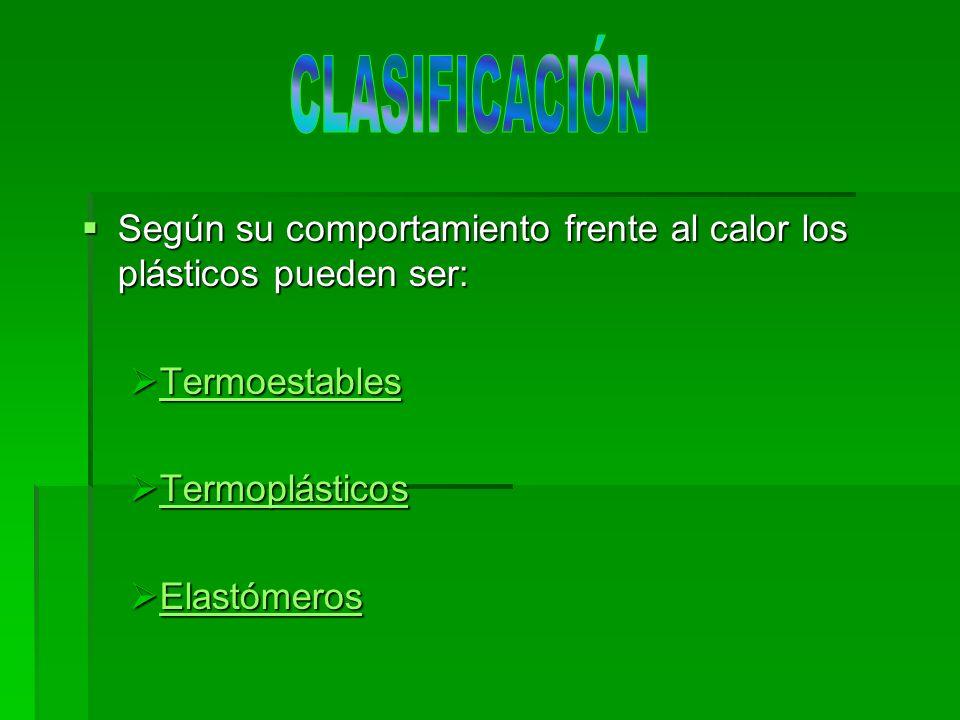 CLASIFICACIÓN Según su comportamiento frente al calor los plásticos pueden ser: Termoestables. Termoplásticos.
