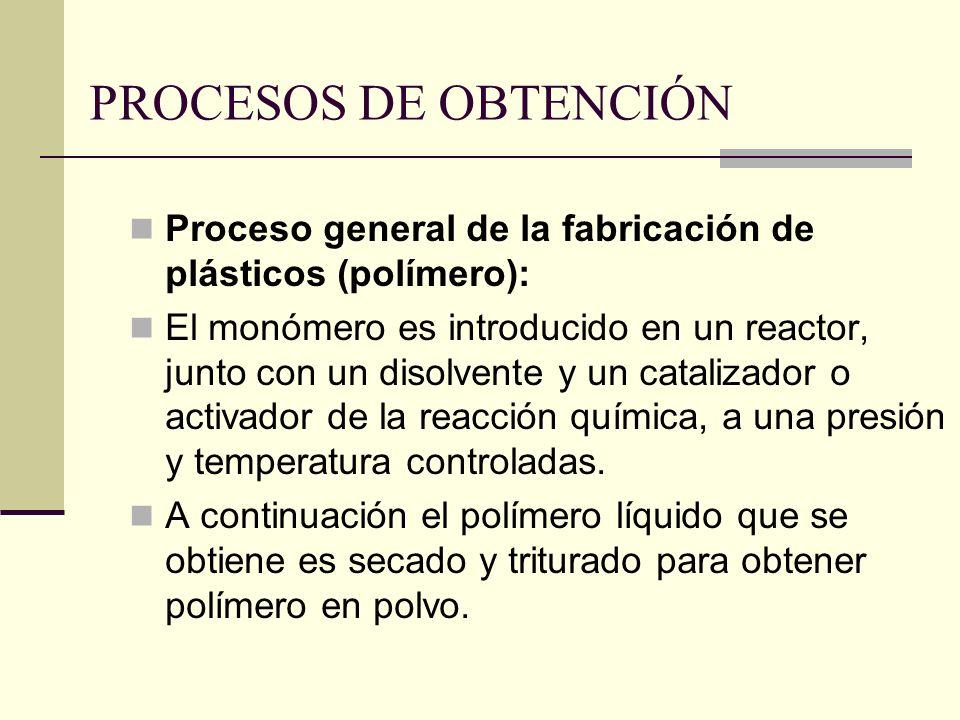 PROCESOS DE OBTENCIÓN Proceso general de la fabricación de plásticos (polímero):