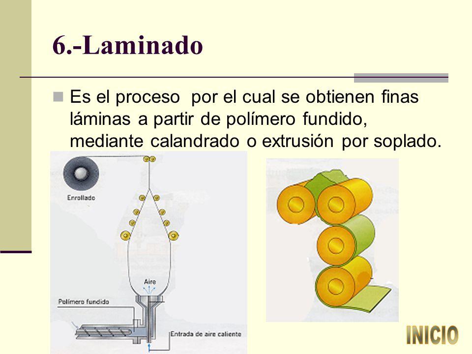 6.-Laminado Es el proceso por el cual se obtienen finas láminas a partir de polímero fundido, mediante calandrado o extrusión por soplado.