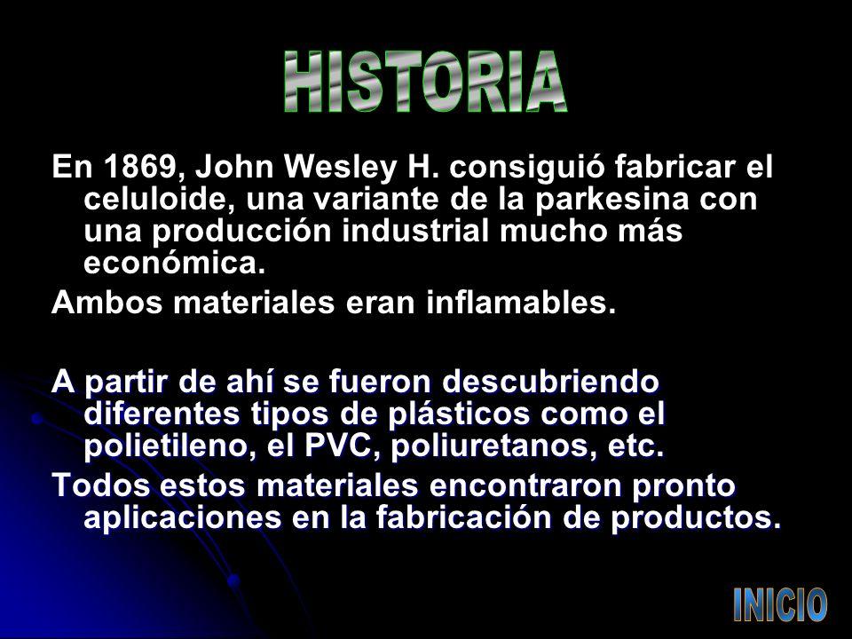 HISTORIA En 1869, John Wesley H. consiguió fabricar el celuloide, una variante de la parkesina con una producción industrial mucho más económica.