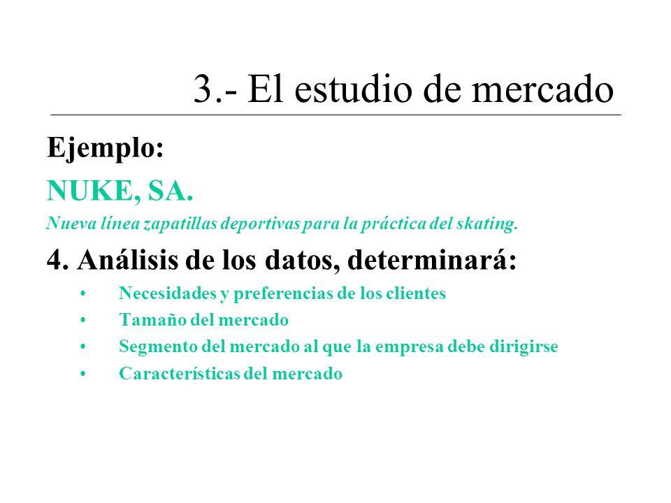 3.- El estudio de mercado Ejemplo: NUKE, SA.